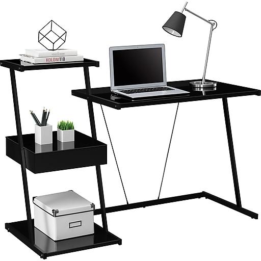 Tribeca Black Glass Desk Staples