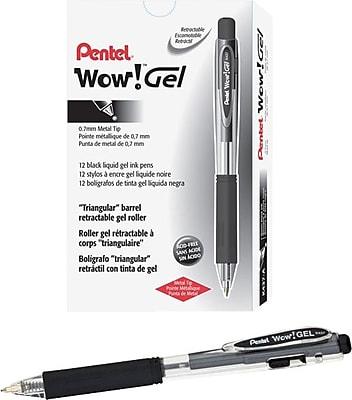 Pentel WOW!™ Retractable Gel Pens, Medium Point, 0.7 mm, Black Ink/Black Barrel, 24/Pk