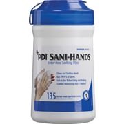"Sani-Hands® Antimicrobial Alcohol Gel Hand Wipes, 6x7.5"" - 135 Wipes/Tub"