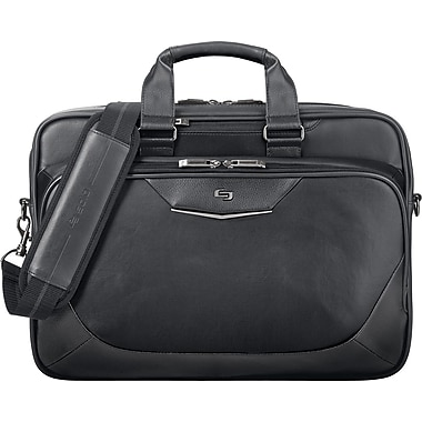 SOLO Executive Briefcase with Pocket for Tablet or eReader, Black, 15.6