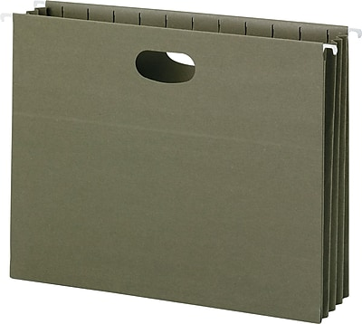 100% Recycled Hanging Pockets With Full-Height Gusset, Letter, Green, 10/Box