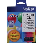 Brother LC203 TriColour Ink Cartridges, High Yield, 3/Pack (LC2033PKS)