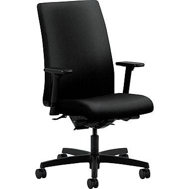 HON Ignition Fabric Executive Office Chair, Adjustable Arms, Black (HIWM3AHUAB10TSB)