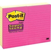"Post-it® Super Sticky Notes, 4"" x 6"", Canary Yellow, Lined, 8 Pads/Pack (660-6+2YWB)"