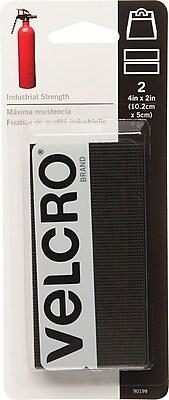 Sticky-Back Hook & Loop Fastener Strips, 4 x 2, Black 2/Pack