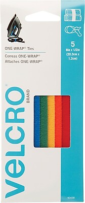 "VELCRO® Fasteners, 1/2""x8"" Straps, Assorted Colors"