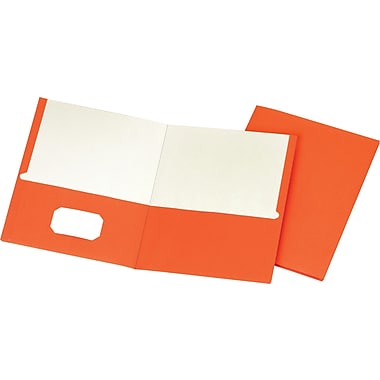 Staples® School Grade 2 Pocket Folder, Orange, 25/Box