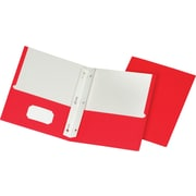 Staples 2 Pocket Fasteners Folders, Red, 25/Box (50772/27540-CC)