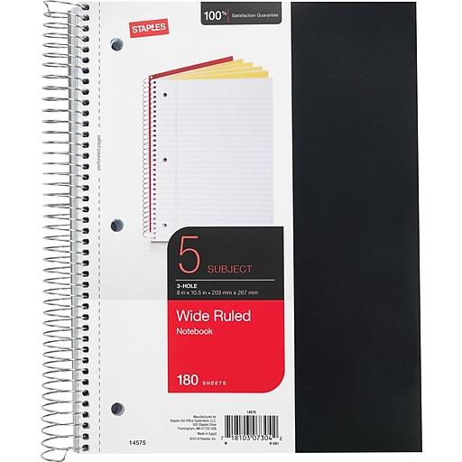 Staples® 5 Subject Notebook, 8 1/2