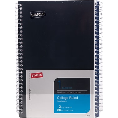 Staples® 1 Subject Notebook, Assorted Colors, 7-3/4
