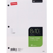 "Staples Graph Ruled Filler Paper, 8"" x 10-1/2"", 80 sheets, 24 pack"