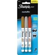 Sharpie® Paint Metallic Markers, Extra-Fine Tip, Assorted Colours, 3/Pack