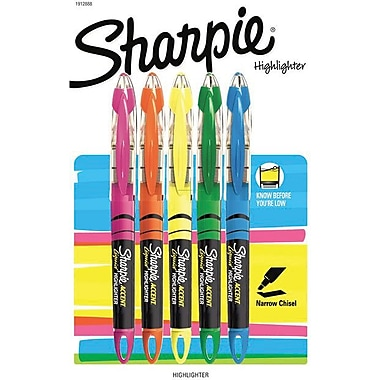 Sharpie® - Surligneurs genre stylo à encre liquide, couleurs variées, paq./5