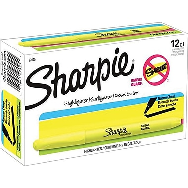 Sharpie® Pocket Highlighters, Yellow, 12/Pack