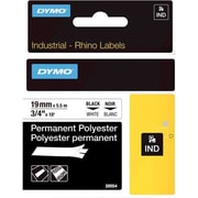 "DYMO® Rhino Label Tape, 19mm (3/4"") Black on White Poly"