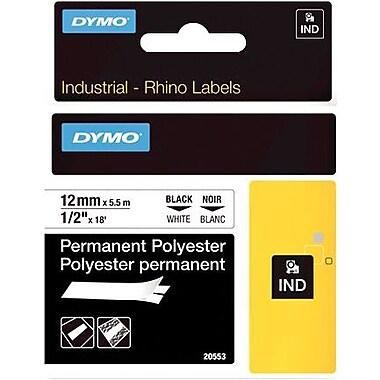DYMO® - Ruban d'étiquettes Rhino, 12 mm (1/2 po), poly noir sur blanc