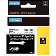 "DYMO® Rhino Label Tape, 12mm (1/2"") Black on White Poly"