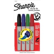 Sharpie® Brush Tip Permanent Markers, Assorted, 4/Pack