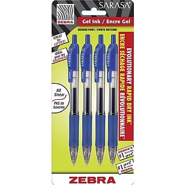 ZebraMD – Stylo gel à séchage rapide Sarasa, pointe rétractable, 0,7 mm, bleu, 4/pqt