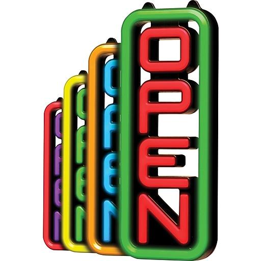 """Green Light Innovations Spectrum Vertical Open Sign, 7"""" x 18"""""""