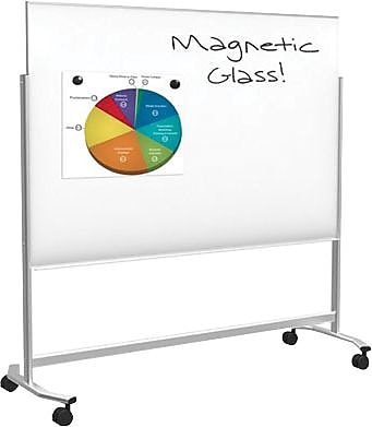 Balt Visionary Move Mobile Magnetic Glass Dry Erase Board, Steel Frame, 6'W x 4'H