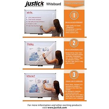 "Justick Electro-Adhesion Dry-Erase Whiteboard, Aluminum Frame, 48"" x 36"" (JL507-S)"