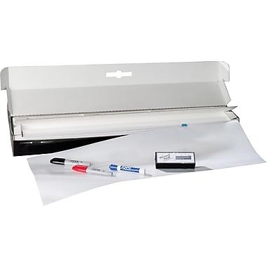 """Wizard Wall Kit 30"""" x 50' Dry Erase Static Cling Film, White (WZW3050T0W)"""