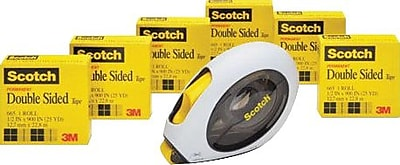 Scotch® Double Sided Tape, 1 Applicator, 6 Rolls/Pack