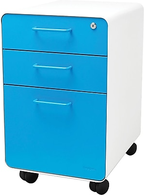 Stow 3-Drawer File Cabinet wCasters, White + Pool Blue