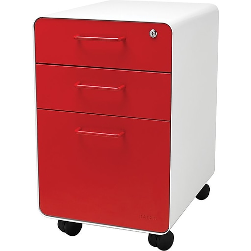 Poppin Stow File Cabinet Rolling 3 Drawer White Red 100917 Staples