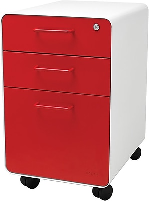 Beau Stow 3 Drawer File Cabinet WCasters, White + Red