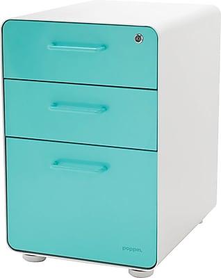 Etonnant Stow 3 Drawer File Cabinet, White + Aqua