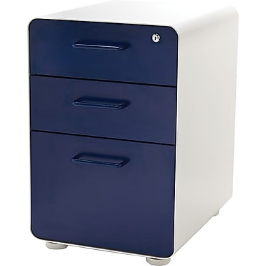 Poppin, Stow File Cabinet, 3-Drawer, White + Navy (100415)