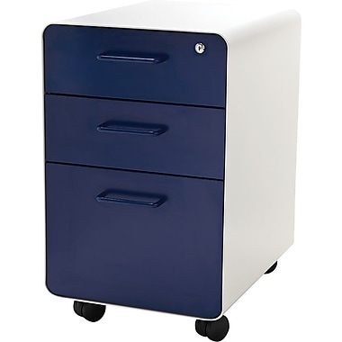 Poppin, Stow File Cabinet, Rolling 3-Drawer, White + Navy (101250)