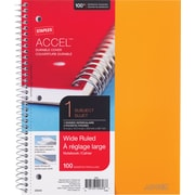 "Staples® Accel, Durable Poly Cover 1 Subject Notebook, Wide Ruled, 8-1/2"" x 11"", Orange (51453M)"