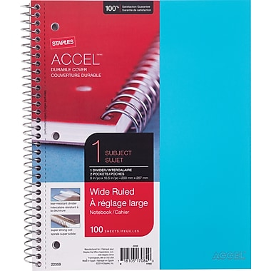 Staples® Accel, Durable Poly Cover Notebook, Wide Ruled, 8