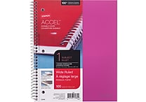 Staples® Accel, Durable Poly Cover 1 Subject Notebook, Wide Ruled, 8' x 10-1/2', Pink (51449M)