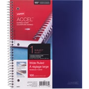 "Staples® Accel, Durable Poly Cover 1 Subject Notebook, Wide Ruled, 8"" x 10-1/2"", Blue (20957M)"