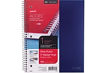 Staples® Accel, Durable Poly Cover 1 Subject Notebook, Wide Ruled, 8' x 10-1/2', Blue (20957M)