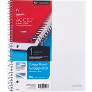 "Staples® Accel, Durable Poly Cover 1 Subject Notebook, College Ruled, 8-1/2"" x 11"", White (25539M)"