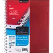 "Staples® Accel, Durable Poly Cover 1 Subject Notebook, College Ruled, 8-1/2"" x 11"", Red (20952M-CC)"