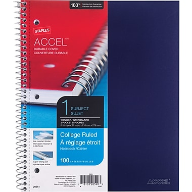 Staples® Accel, Durable Poly Cover 1 Subject Notebook, College Ruled, 8-1/2