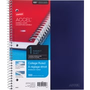 "Staples® Accel, Durable Poly Cover 1 Subject Notebook, College Ruled, 8-1/2"" x 11"", Blue (20951M-CC)"