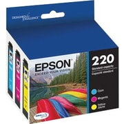 Epson 220 Color Ink Cartridges, Cyan, Magenta, Yellow, 3-Pack (T220520)