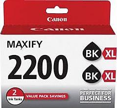 Canon PGI-2200 XL Black High Yield Ink Cartridges (9255B006), Multi-pack (2 cart per pack)