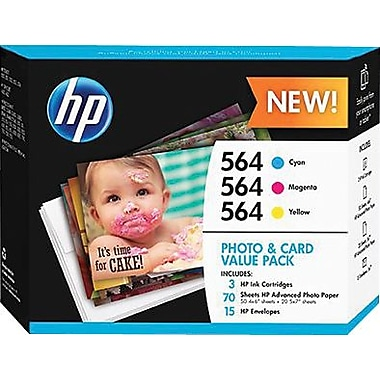 HP 564 Color C/M/Y Ink Cartridges w/ Photo and Card Value Kit (J2X80AN#140), Combo 3/Pack