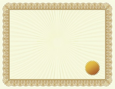 Great Papers® Metallic Gold Value Certificate W/ Seals, 50/Pack