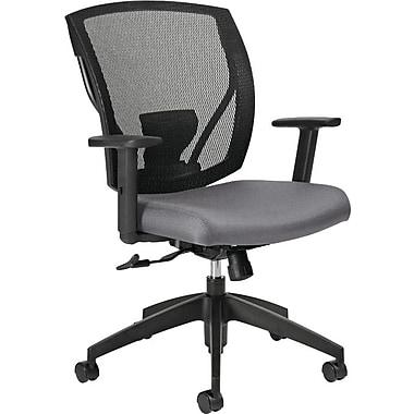 Offices To GoMD – Chaise IBEX-F à dossier inclinable mi-hauteur à filet, siège en tissu, ardoise