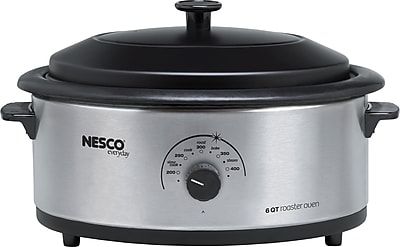 6 Qt Roaster, Stainless Steel, Porcelain Cookwell, Black Metal Lid