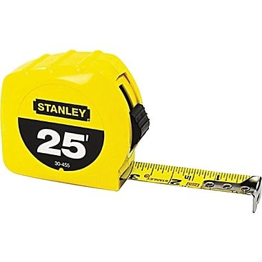 Stanley® Polymer Coated Single Side Measuring Tape, 25 ft (L) x 1 in (W) Blade, Inch